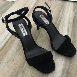 Steve Madden Black Square Toe Walkable Heels